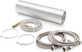 "Washer and Gas Dryer Accessories Kit Including (2) 6' Stainless Steel Hoses, 8' Semi-Rigid Dryer Vent, 48"" Gas Flex-Line Hose"
