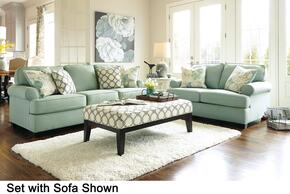 Daystar 28200QSSLAO2ETR 6-Piece Living Room Set with Queen Sofa Sleeper, Loveseat, Accent Ottoman, 2 End Tables and Rug in Seafoam