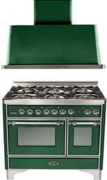 "2-Piece Emerald Green Kitchen Package with UMD1006DMPVSX 40"" Freestanding Dual Fuel Range (Chrome Trim, 6 Burners, Timer) and UAM100VS 40"" Wall Mount Range Hood"