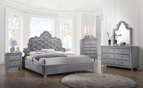 Sophie Collection SOPHIEQPBDM2NC 6-Piece Bedroom Set with Queen Panel Bed, Dresser, Mirror, 2 Nightstands and Chest in Grey