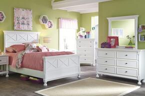 Kaslyn Full Bedroom Set with Panel Bed, Dresser and Mirror in White
