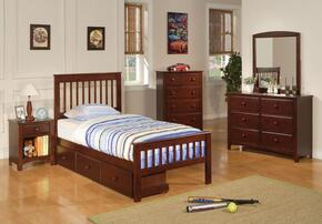 Parker 400290TSETC 6 PC Bedroom Set with Twin Slat Bed + Dresser + Mirror + Chest + Nightstand + Trundle in Chestnut Finish