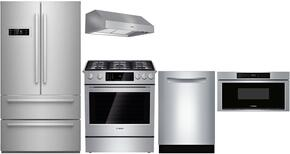 """5-Piece Stainless Steel Kitchen Package with B21CL80SNS 36"""" French Door Refrigerator, HDI8054U 30"""" Dual Fuel Range, DPH30652UC 30"""" Under Cabinet Hood, SGE68U55UC 24"""" Dishwasher, and HMD8053UC 30"""" Microwave Drawer"""