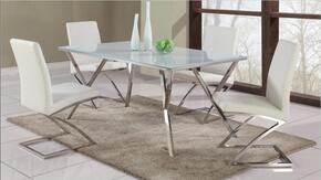 JADE-DT-SET White Glass Dining Table Top With Modern Stainless Steel Dining Table Base + 4 Dining Room Chairs