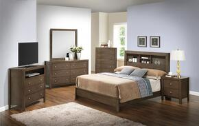 G2405B Collection G2405BTB2SET 6 PC Bedroom Set with Twin Size Bed + Dresser + Mirror + Chest + Nightstand + Media Chest in Grey Finish