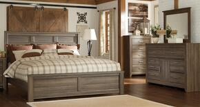 Juararo King Bedroom Set with Panel Bed, Dresser, Mirror and Chest in Dark Brown