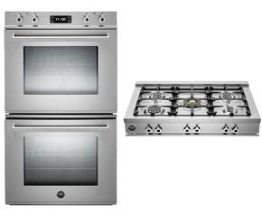 "Professional Series 2-Piece Stainless Steel Kitchen Package with FD30PROXT 30"" Double Electric Wall Oven and CB36500X 36"" Gas Rangetop"