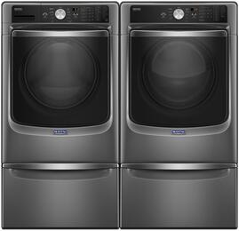 "Metallic Slate Front Load Laundry Pair with MHW8200FC 27"" Washer, MGD8200FC 27"" Gas Dryer and 2 XHPC155YC Pedestals"