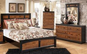 Tucker Collection Full Bedroom Set with Panel Bed, Dresser and Mirror in Two Tone Brown