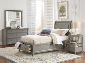 Avignon Youth Collection 1618FPBDMN 4-Piece Bedroom Set with Full Storage Bed, Dresser, Mirror and Nightstand in Grey