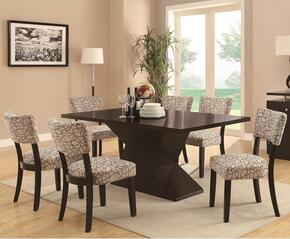 1031604CH Libby Dining Table with 4 Side Chairs, Hourglass Base, Poplar Solids, Birch Veneers, Straight Clean Lines and Subtle Curves in Cappuccino Finish