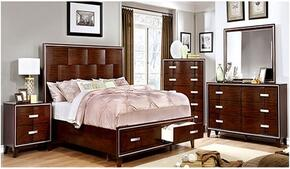 Safire Collection CM7616CKSBDMCN 5-Piece Bedroom Set with California King Storage Bed, Dresser, Mirror, Chest and Nightstand in Cherry Finish
