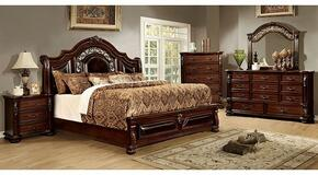 Flandreau Collection CM7588KBDMCN 5-Piece Bedroom Set with King Bed, Dresser, Mirror, Chest and Nightstand in Brown Cherry Finish