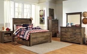 Trinell Full Bedroom Set with Panel Bed with Trundle, Dresser, Mirror, Nightstand and Chest in Brown
