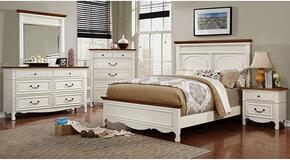 Johara Collection CM7040QBDMCN 5-Piece Bedroom Set with Queen Bed, Dresser, Mirror, Chest and Nightstand in White and Oak Finish