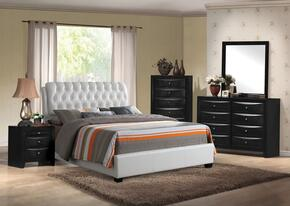 Ireland 25350Q5PC Bedroom Set with Queen Size Bed + Dresser + Mirror + Chest + Nightstand in White Color