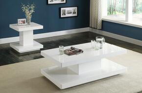 Imena 80728CET 2 PC Living Room Table Set with Coffee Table + End Table in White Color