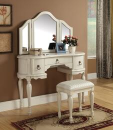 Trini 90024SET Vanity Set with Vanity and Stool + Mirror in White Finish