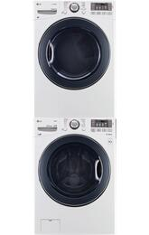 "White Front Load Stacked Laundry Pair with WM3770HWA 27"" Washer, DLGX3571W 27"" Gas Dryer, and KSTK1 Stacking Kit"