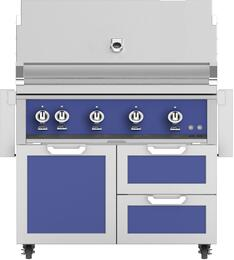 "42"" Freestanding Liquid Propane Grill with GCR42BU Tower Grill Cart with Double Drawer and Door Combo, in Prince Blue"