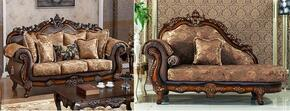 Seville 693-S-CH 2 Piece Living Room Set with Sofa and Chaise in Cherry Finish