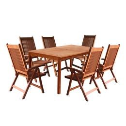 V98SET21 Outdoor Wood Balthazar 5-foot Rectangular Table with 6, Large Reclining Chairs