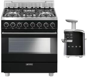 "2-Piece Black Kitchen Package with C30GGNU 30"" Freestanding Gas Range and SJF01BLUS 7"" Slow Juicer"