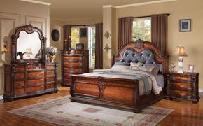 22307EK5PCSET Nathaneal Eastern King Size Bed + Dresser + Mirror + Chest + Nightstand with Decorative Carving Style, Black PU Button Tufted Like Headboard, Wood Veneers and Solids in Tobacco Finish