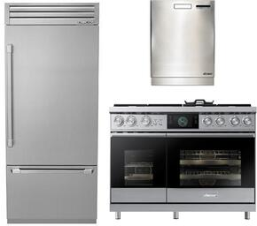 "3-Piece Stainless Steel Kitchen Package with DYF36BFTSR 36"" Bottom Freezer Refrigerator, DOP48M96DPS 48"" Freestanding Gas Range, and a free RDW24S 24"" Built In Fully Integrated Dishwasher"