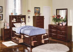 04090TDMCN Manhattan Twin Size Storage Bed + Dresser + Mirror + Chest + Nightstand in Espresso Finish