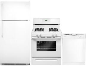 "3-Piece White Kitchen Package with FFTR1821QW 30"" Top Freezer Refrigerator, FFGF3023LW 30"" Freestanding Gas Range and FFBD2406NW 24"" Full Console Dishwasher"