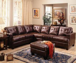 "Samuel 500911SSAC 114"" Wide Sectional Sofa + Armless Chair with Tufted Detailing, Tapered Legs and Track Arms in Chocolate"