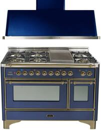 "2-Piece Midnight Blue Kitchen Package with UM120FDMPBLY 48"" Freestanding Dual Fuel Range (Oiled Bronze Trim, 6 Burners, Griddle) and UAM120BL 48"" Wall Mount Range Hood"