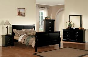 Louis Philippe III 19494CK5PC Bedroom Set with California King Size Bed + Dresser + Mirror + Chest + Nightstand in Black Color