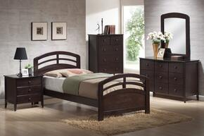 San Marino 14980TDMCN 5 PC Bedroom Set with Twin Bed + Dresser + Mirror + Chest + Nightstand in Dark Walnut Finish