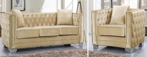 Reese Collection 648-BE-S-C 2 Piece Living Room Set with Sofa and Chair in Beige