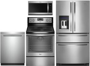 "4-Piece Kitchen Package with WRX735SDBM 36"" French Refrigerator, WFE540H0ES 30"" Electric Freestanding Range, WMH32519FS 30"" Over The Range Microwave oven and WDTA50SAHZ 24"" Built In Dishwasher in Stainless Steel"