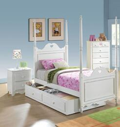 Sweetheart 30170T4PC bedroom Set with Twin Size Bed + Chest + Nightstand + Trundle in White Color