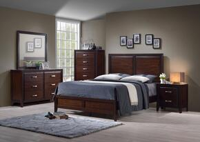 1006-6652/68SK Agathis Bedroon Set Including King Bed, Dresser, Mirror, Chest and Nightstand  Distressed Detailing, Molding Detail and Tapered Legs in Merlot