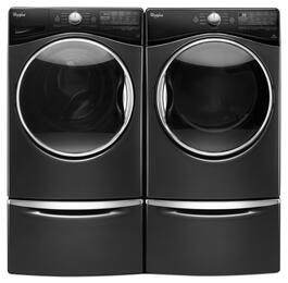 "Black Diamond Front Load Laundry Pair with WFW92HEFBD 27"" Washer, WGD92HEFBD 27"" Gas Dryer and 2 XHPC155YBD Laundry Pedestals"