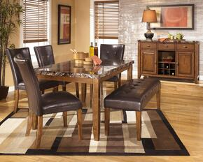D328250100 Lacey Rectangular Dining Table with Four Side Chairs, One Bench, Faux Marble Top, Veneers and Hardwood Solids in Dark Brown