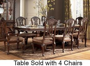 D5530355 North Shore Side Chair with Double Pedestal Extension Table, Decorative Pilasters and Furniture Grade Resin in Opulent Brown