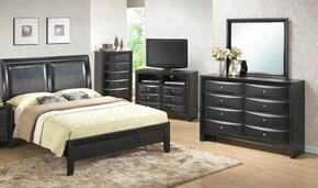 G1500AQBDM 3 Piece Set including Queen Size Bed, Dresser and Mirror  in Black