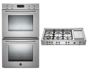 """Professional Series 2-Piece Stainless Steel Kitchen Package with FD30PROXE 30"""" Double Electric Wall Oven and CB36600X 36"""" Gas Rangetop"""