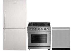 "3-Piece Kitchen Package with BRFB1812SSN 30"" Bottom Freezer Refrigerator, BGRP34520SS 30"" Freestanding Gas Range, and a free DWT55300SS 24"" Built In Fully Integrated Dishwasher in Stainless Steel"
