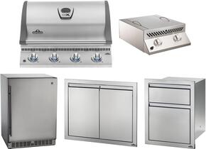 "5-Piece Stainless Steel Outdoor Package with BILEX485PSS1 29"" Liquid Propane Grill, Side Burner, Outdoor Refrigerator, Access Door, and Storage Drawers"
