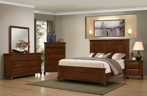 1001-5052/68SQ Raleigh Bedroom Set Including Queen Bed, Dresser, Mirror, Chest and Nightstand with Molding Detail, Bun Feet, Distressed Detailing and Turned Legs in Brown