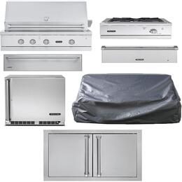 "7-Piece Stainless Steel Kitchen Package with VGIQ542241LSS 42"" Liquid Propane Grill, Outdoor Refrigerator, Side Burner, Warming Drawer, Storage Drawer, Single Access Door, Storage Drawer, and Grill Cover"
