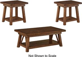 Dondie T863CT2ET 3-Piece Living Room Table Set with 1 Cocktail Table and 2 End Tables in Rustic Brown