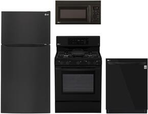 "4-Piece Kitchen Package with LTCS24223B 33"" Top Freezer Refrigerator, LRG3193SB 30"" Freestanding Gas Range, LMV1831SB 30"" Over the Range Microwave, and LDP6797BB 24"" Built In Fully Integrated Dishwasher in Black"
